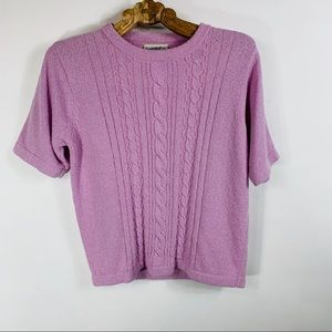 Northern Reflections Pink Cableknit Short Sleeve S